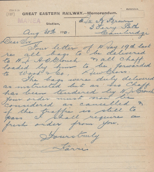 96370 - CAMBS/RAILWAYS. 1920 Great Eastern Railway Memoran...