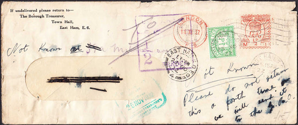 96377 - 1932 UNDELIVERED MAIL LONDON USAGE. Window envelope (210x90) used within London