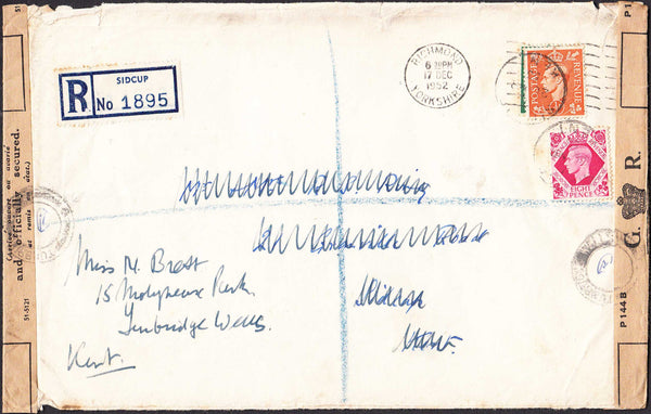 96382 - 1952 MAIL RICHMOND (YORKS) TO SIDCUP/REUSED REGISTERED TO TUNBRIDGE WELLS/OFFICIALLY RESEALED. Large envelope (210x133), slight faults Richmo...