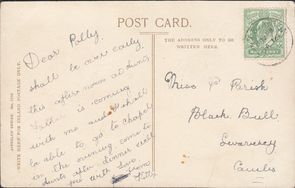 96395 - CAMBS. 1909 post card Peterborough Cathedral and B...