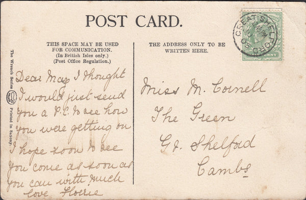 96398 - CAMBS. 1905 post card (corner crease) used locally...