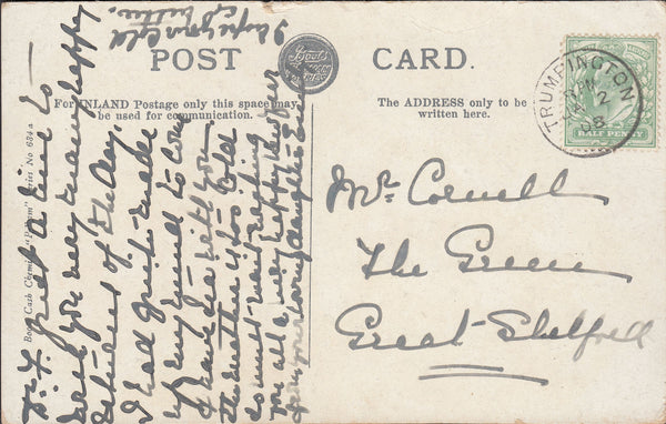 96399 CAMBS. 1908 post card Gonville and Caius College to Great Shelford.