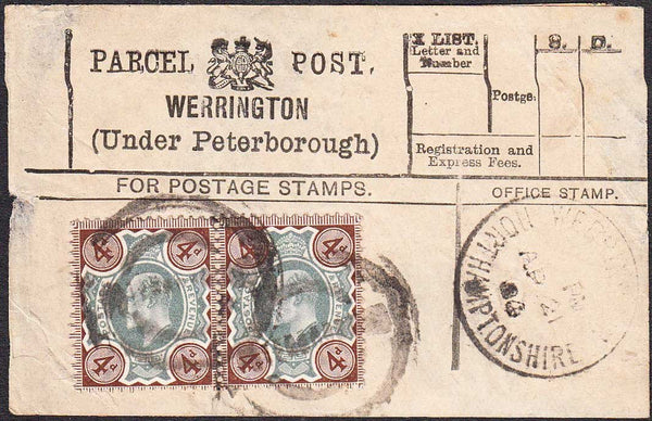 96413 - PARCEL POST LABEL/NORTHANTS. 1904 label WERRINGTON...
