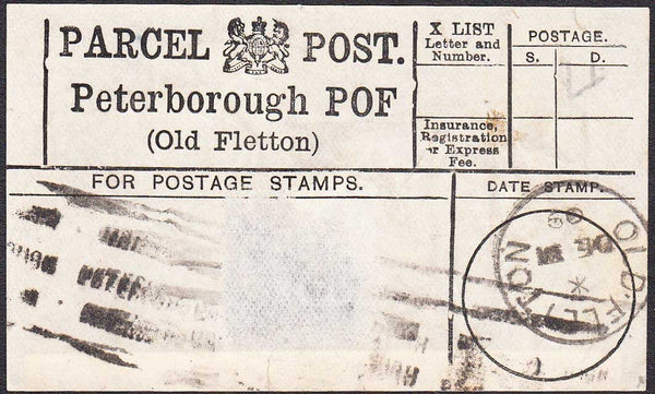 96417 - PARCEL POST LABEL/NORTHANTS. 1909 label Peterborou...