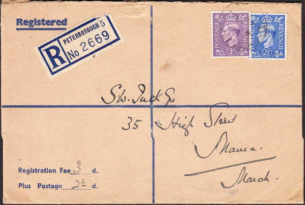 96419 - 1948 registered envelope Peterborough to Manea, Ma...