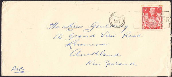 96473 - 1949 MAIL LONDON TO NEW ZEALAND 5S RED (SG477). Large envelope (228 x 102) London to Auckland, New ...