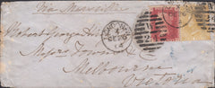 96569 - 1864 MAIL LONDON TO AUSTRALIA. Envelope, slight imperfect...