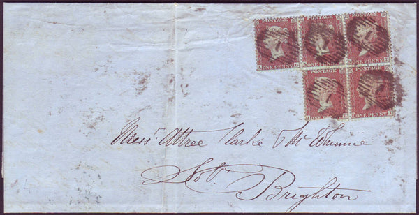96599 - PL.14 (SPEC C6) USED BLOCK OF FIVE ON COVER. 1856 ...