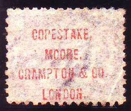 96618 1874 'COPESTAKE, MOORE, CRAMPTON AND CO. LONDON' OFFICIAL UNDERPRINT TYPE 13 IN RED (SPEC PP27)/½D BANTAM PL.12 (SG48).
