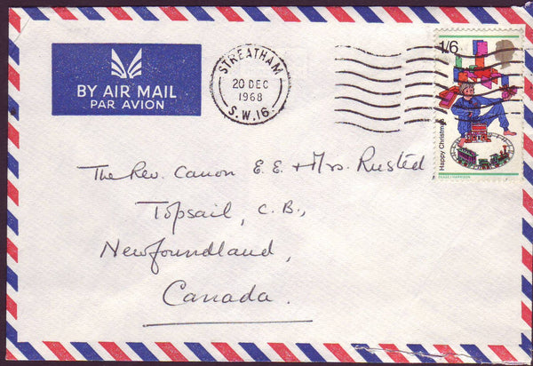 96619 - 1968 MAIL TO NEW FOUNDLAND. Envelope Streatham to ...