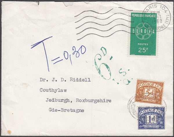 96628 - 1960 UNDERPAID MAIL FRANCE TO JEDBURGH. Envelope P...
