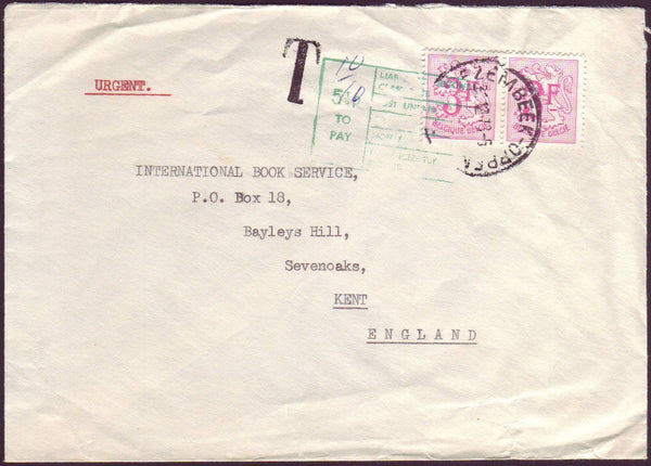 96632 - 1973 UNDERPAID MAIL BELGIUM TO THE UK. Envelope Be...