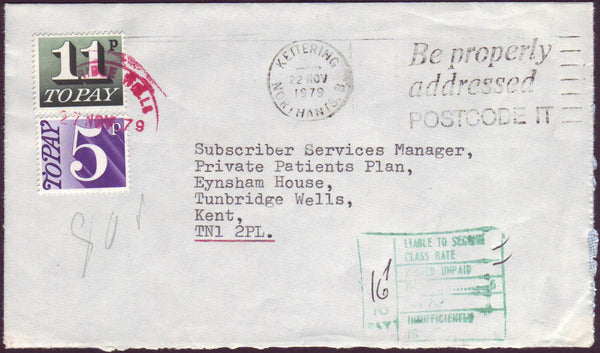 96635 - 1979 UNPAID MAIL. Envelope Kettering to Tunbridge ...