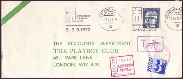 96639 - 1972 UNDERPAID MAIL GERMANY TO THE UK. Large envelope (2...