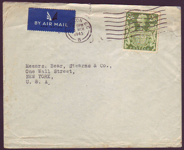 96650 - 1945 MAIL LONDON TO USA 2/6D YELLOW-GREEN (SG476b). Envelope (small fault at top) London to New York with KGVI 2/6d ye...