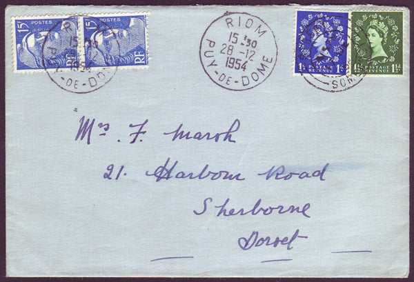 96657 - 1954 ENVELOPE SOMERSET TO DORSET SENT TO FRANCE IN...