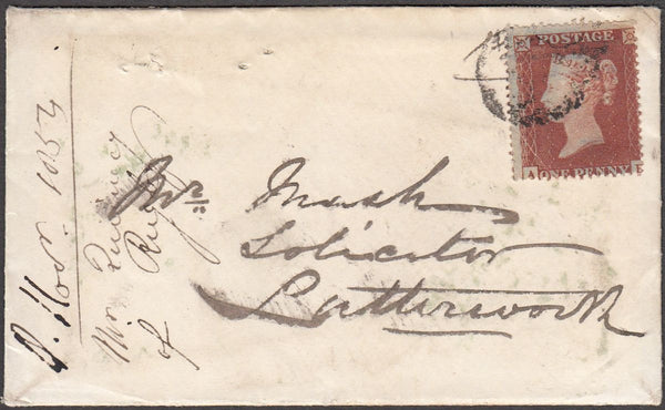 96834 - 1854 envelope Rugby to Lutterworth (letter enclose...