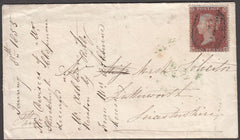 96855 - RES.PL.2 (BE)(SG17) ON COVER. 1855 envelope Rugby ...