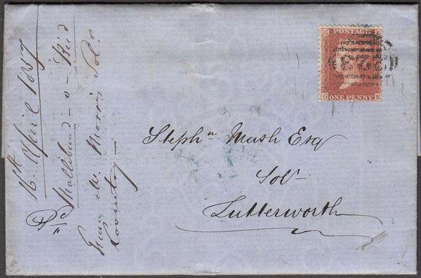 96868 - PL.43 (GK)(SG29) ON COVER. 1857 entire Coventry to...
