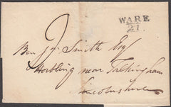 97049 - 1820 HERTS/'WARE 27' MILEAGE MARK(HE585). 1820 wrapper Ware to Folkingham dated 22nd ...
