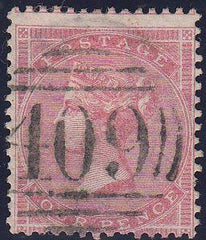 "97094 - 1866 4D ROSE-CARMINE (SG66) CANCELLED ""409"" OF JER..."