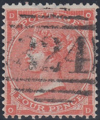 "97115 - 1863 4D BRIGHT RED (SG81) CANCELLED ""324"" OF GUERN..."