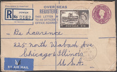 97411 - 1957 QEII 6d mauve registered envelope Ipswich to ...