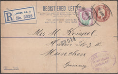 97425 - 1909 KEDVII 3d red-brown registered envelope Londo...