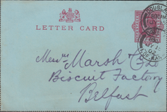 97577 - 1902 KEDVII 1D LETTER CARD USED ISLE OF MAN. A fin...