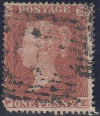 97704 - PL.196 (PE)(SG17)?LONG STAMP. Used 1854 die 1 1d pl.196 lette...