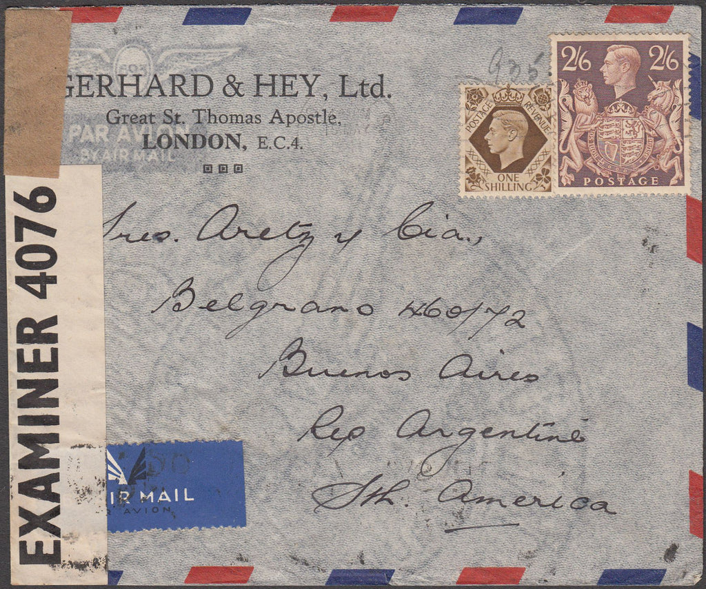 98000 Kgvi 2 6d Brown Sg 476 Used On Cover To Argentina Bill