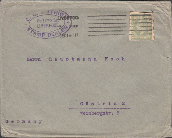 98387 - 1911 CUT-OUT LIVERPOOL TO GERMANY/STAMP DEALER.