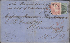 98401 - 1864 TRANSATLANTIC MAIL LONDON TO USA WITH COMBINATION OF GB AND US STAMPS