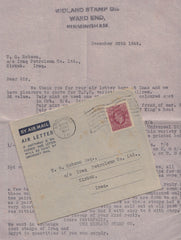 98478 - 1949 AIR LETTER BIRMINGHAM TO IRAQ/STAMP DEALER.