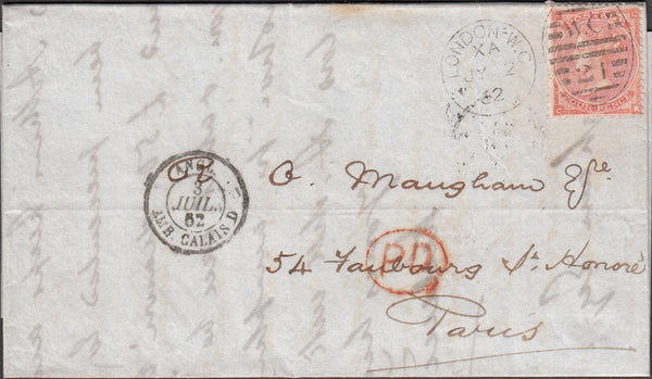"98637 - 1862 4D RED (SG80) LETTERED CK CONSTANT VARIETY ""DEFECTIVE LETTER K"" ON COVER."