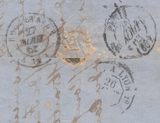 "98638 - 1862 4D RED (SG80) LETTERED CK CONSTANT VARIETY ""DEFECTIVE LETTER K"" ON COVER."