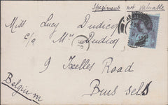 98915 - 1897 POST CARD/DERBYS/SAMPLE MAIL.