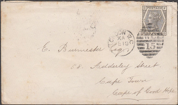 99012 - 1881 6D WATERMARK SPRAY PL.17 (SG147) ON COVER LONDON TO CAPE TOWN.