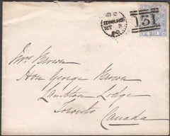 99086 - EDINBURGH DOTTED CIRCLE/2½D BLUE PL.17 (SG142) ON COVER TO CANADA.