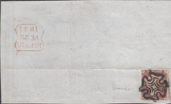 99186 - PENNY RED PL.10 (SG7) (EH) VERY EARLY USAGE FEB 22 1841.