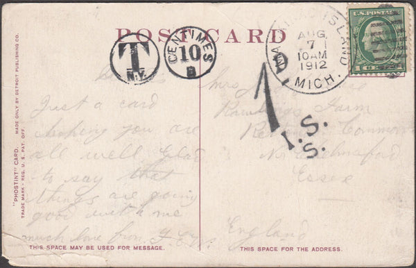 99549 - 1912 UNDERPAID MAIL USA TO CHELMSFORD.