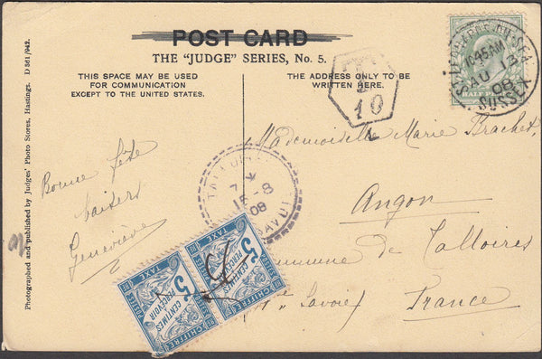 99551 - 1908 UNDERPAID MAIL SUSSEX TO FRANCE.