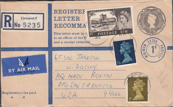 99665 - 1968 REGISTERED MAIL LIVERPOOL TO SAN FRANCISCO.