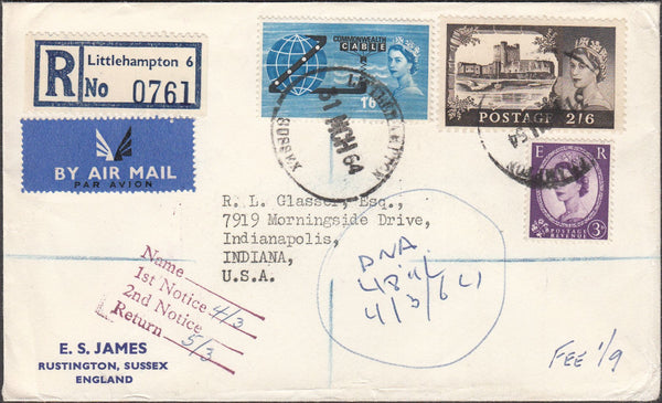 99671 - 1964 REGISTERED MAIL LITTLEHAMPTON TO INDIANA.