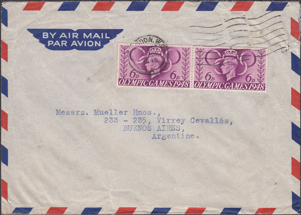 99689 - 1948 MAIL LONDON TO ARGENTINA.