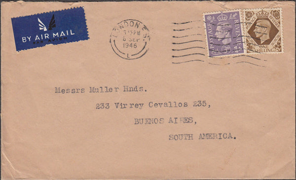99699 - 1946 MAIL LONDON TO ARGENTINA.