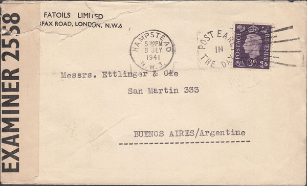 99702 - 1941 MAIL HAMPSTEAD TO ARGENTINA.