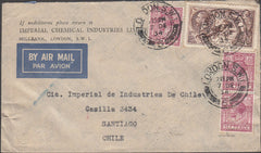 99744 - 1934 2/6D SEA HORSE (SG450) ON MAIL LONDON TO SANTIAGO, CHILE.