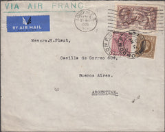 99754 - 1938 2/6D SEA HORSE (SG450) ON COVER TO ARGENTINA.