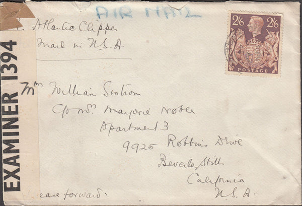 99763 - 1941 MAIL BEACONSFIELD TO USA.